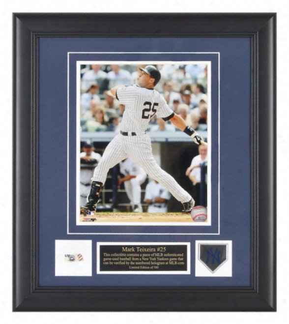 Mark Teixeira Photograph - New York Yankees Framed 8x10 Pictrue With Team Medallion And Game Used Baseball