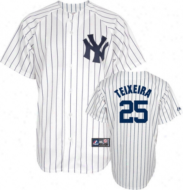 Mark Teixiera Big & Tall Jersey: Adult Home Pinstripe Replica #25 New York Yankees Jersey