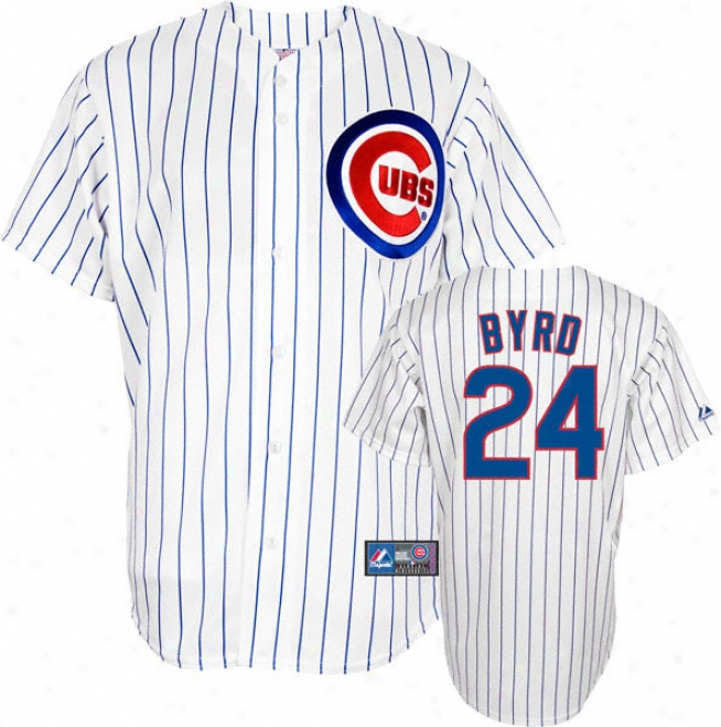 Marlon Byrd Jersey: Adult Majestic Home Pinstripe Replica #24 Chicago Cubs Jersey