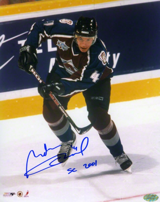 Martin Skoula Autograpned Photograph  Details: Colorado Avalanche, Sc 2001 Inscription, 8x10