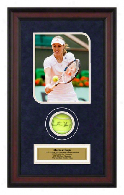 Martina Hingis French Open Framed Autographed Tennis Ball With Photo