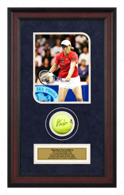 Martina Navratilova Match Framed Autographed Tennis Ball With Photo