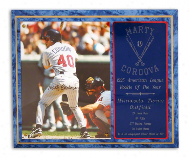Marty Cordova Minnesota Twins 1995 Al Roy Flat plate of metal - Le Of 199