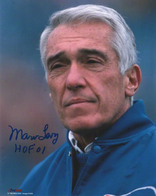 Marv Levy Buffalo Bills Autographed 8x10 Photograph With Hof 01 Inscription