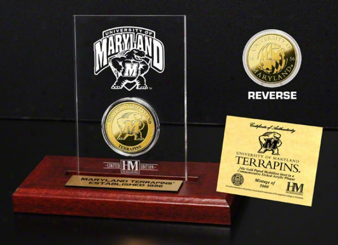 Maryland Terrapins 24kt Gold Coin In Etched Acrylic