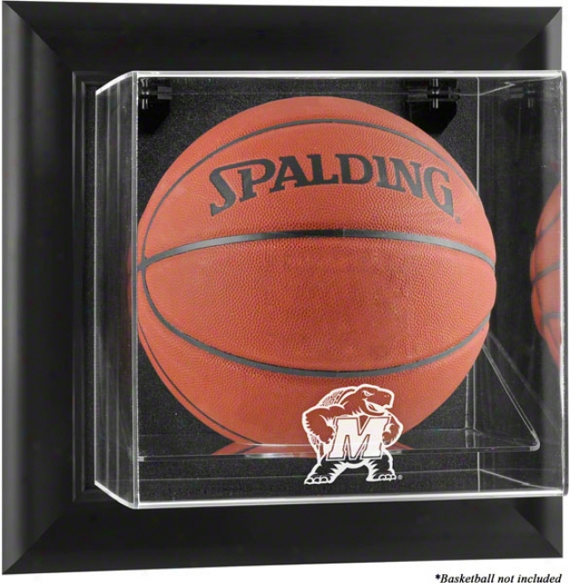 Maryland Terrapins Framed Wall Mounted Logo Basketball Display Case