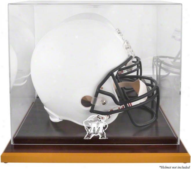 Maryland Terrapins Logo Helmet Display Case  Details: Wood Base, Mirrored Back