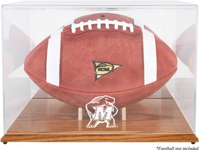 Maryland Terrapins Team Logo Football Display Case  Deatils: Oak Base