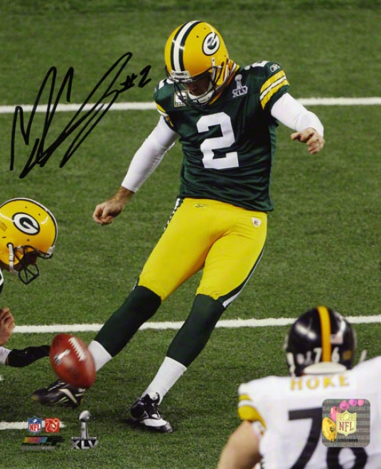 Mason Crosby Autographed Photograph  Details: 8x10, Green Bay Packers