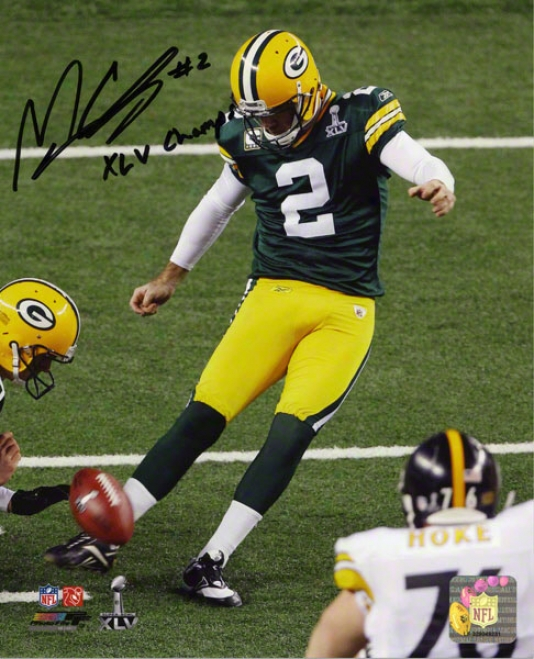 Mason Crosby Autographed Photograph  Details: Green Bay Packers, 8x10, Xlv Champs Inscription
