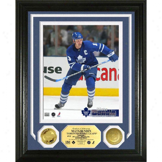 Mats Shndin Toronto Maple Leafs Photomint With 2 Gold Coins