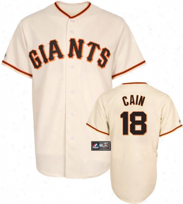 Matt Cain Jersey: Adult Majestic Home Ivory Replica #18 San Francisco Giants Jersey