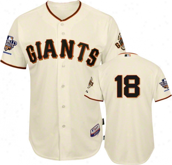 Matt Cain Jersey: San Francisco Giants #18 Home Ivory Cool Baseã¢â�žâ¢ Authentic On-field Jersey With 2010 World Series Champs Patch
