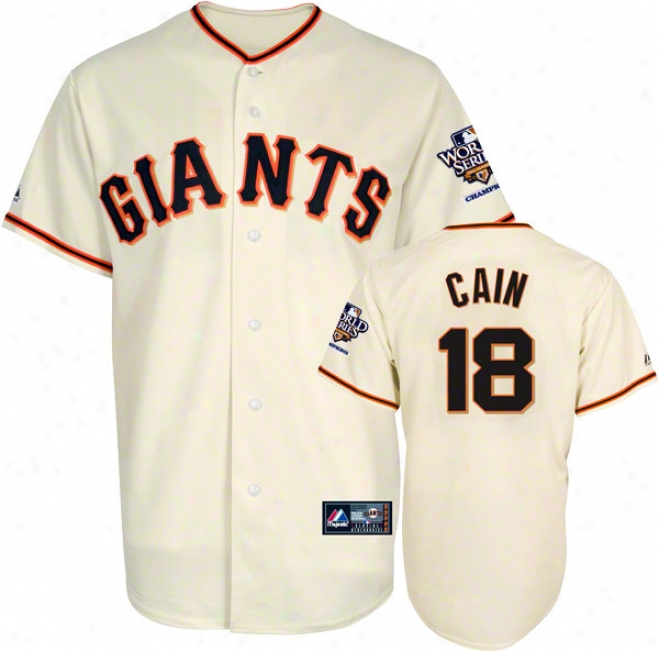 Matt Cain Jersey: San Francisco Giants #18 Home Autograph copy Jersey With 2010 World Series Champs Patch