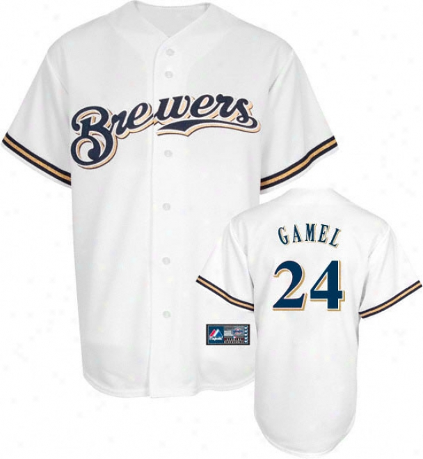 Matt Gamel Jersey: Adult Majestic Home White Replica #24 Milwaukee Brewers Jerey
