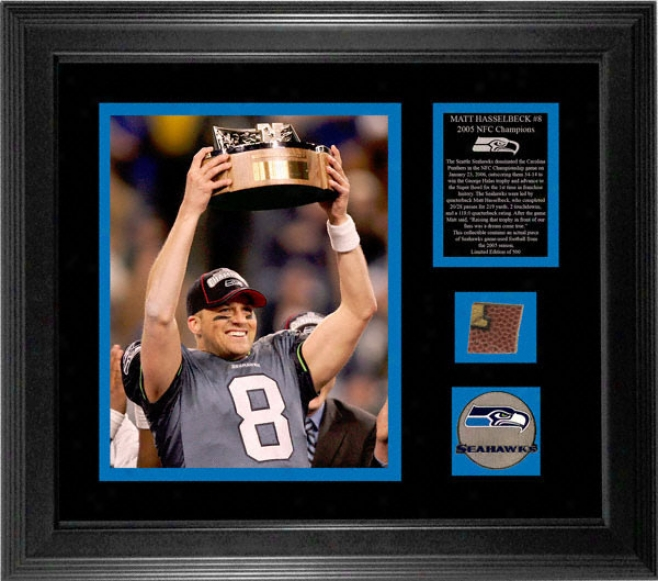 Matt Hasselbeck Seattle Seahawks - Nfc Champions - Framed 8x10 Photograph With Game Used 2005 Football Piece And Medallion