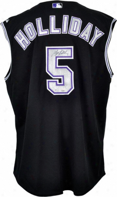 Matt Holliday Autogrphed Jersey  Details: Colorado Rockies, Black Majestic Vest