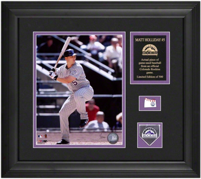 Matt Holliday Colorado Rockies Framed 8x10 Photograph With Game Used Baseball Piece Andd Descriptive Plate