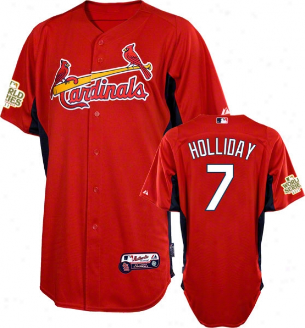 Matt Holliday Jersey: St. Louis Cardinals #7 Scarlet Authentic Cool Baseã¢â�žâ¢ On-field Batting Acting out Jersey With 2011 World Series Participant Patch