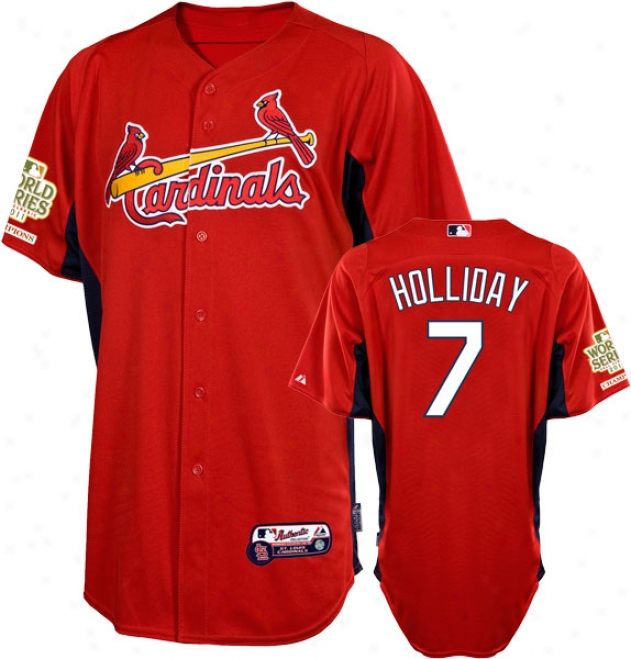 Matt Hollieay Jersey: St. Louis Cardinalx #7 Scarlet Authentic Cool Baseã¢â�žâ¢ On-field Batting Practice Jersey With 2011 World Series Champions Patch
