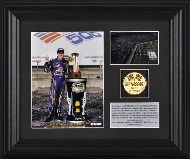 Matt Kenseth Frqmed Photograph  Details: 2011 Bank Of America 500 Charlotte Motor Speedway Winner, Gold Coin Dish - Limited Edition Of 317