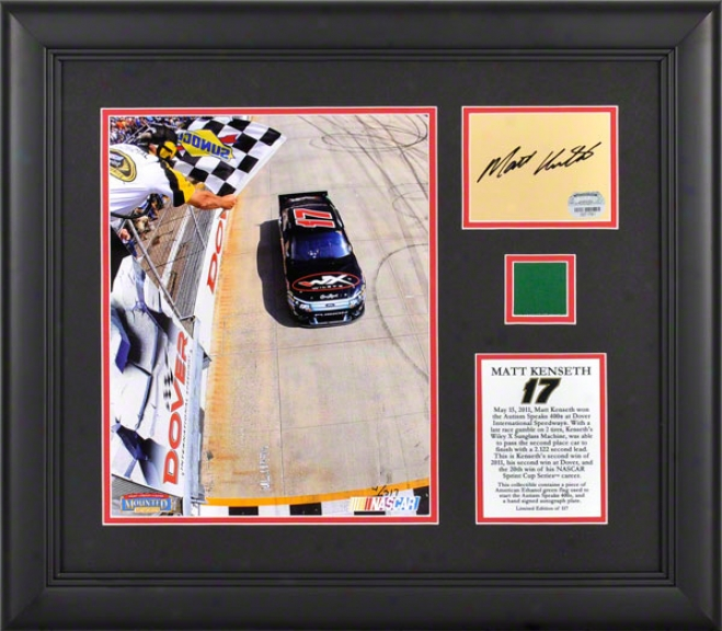Matt Kenseth Framed Photograph  Details: 8x10, 2011 Fedex 400 At Dover International Speedway, Autographed Card, Flag, Limited Edition Of 117