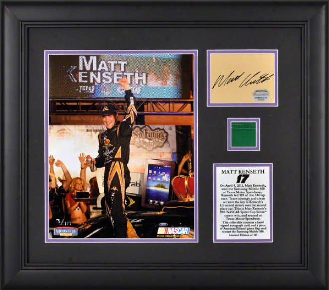 Matt Kenseth Framed Photograph  Detalis: 8x10, 2011 Samsung Mlbile 500 At Texas Motor Speedway , Autogrph3d Card, Flag, Limited Edition Of 117