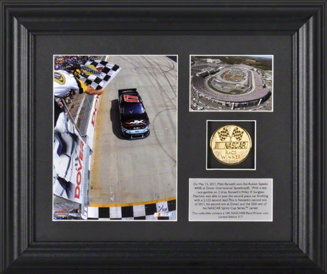 Matt Kenseth Framed Photograph  Details: Fedex 400 At Dover International Speedway, Gold Coin, Plate, Limited Edition Of 317