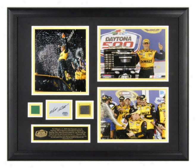 Matt Kenseth Framed Three 8x10 Daytona 500 Photographs With Autographed Card, Race Used Irk And Green Flag
