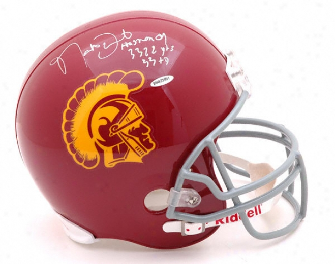 Matt Leinart Autographed Helmet  Details: Usc Trojans, With 3 Inscrjptions,riddell Replica Helmet