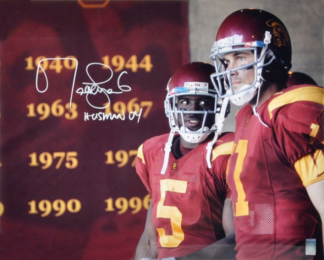 Matt Leinart Autographed Photograph  Details: Usc Trojans, 16x20, Action, Heisman 04 Inscroption