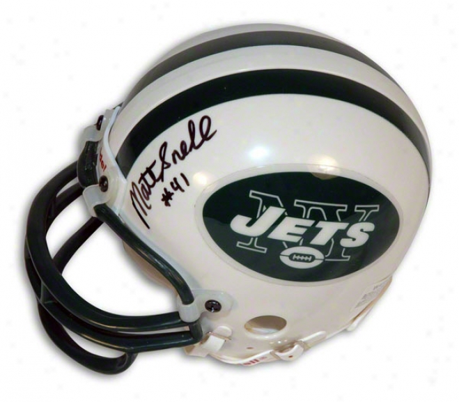 Mat Snell Autographed New York Jets Mini Helmet
