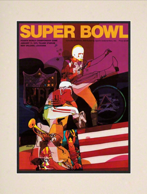Matted 10.5 X 14 Super Bowl Iv Program Print  Details: 1970, Chiefs Vs Vikings