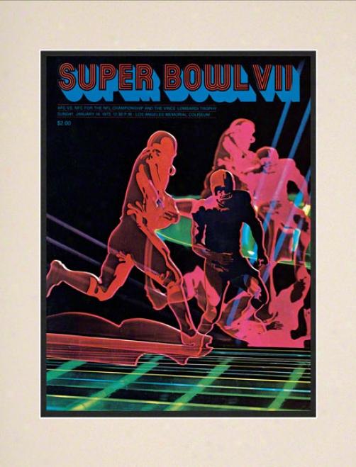 Matted 10.5 X 14 Super Hollow Vii Program Print  Details: 1973, Dolphins Vs Redskins