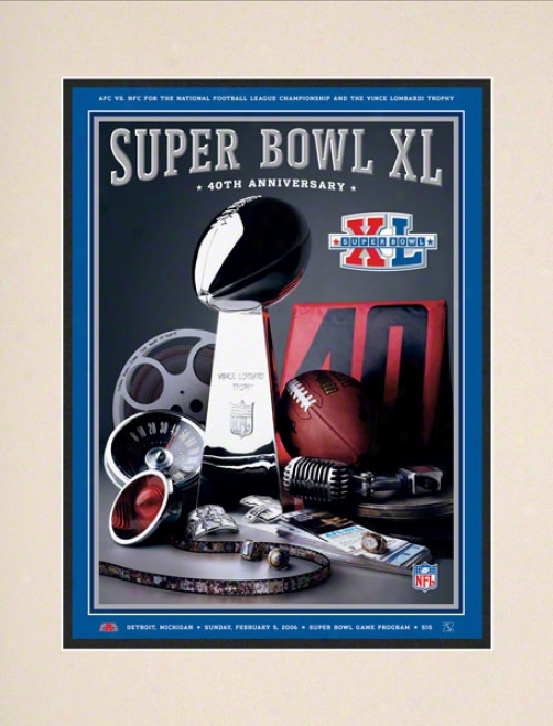 Matted 10.5 X 14 Super Hollow Xl Program Print  Details: 2006, Steelers Vs Seahawks