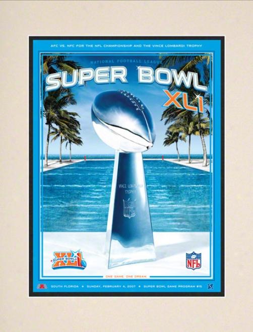 Matted 10.5 X 14 Super Hollow Xli Program Print  Details: 2007, Colts Vs Bears