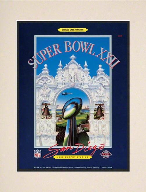 Matted 1O.5 X 14 Super Bowl Xxii Program Print  Details: 1988, Redskins Vs Broncos