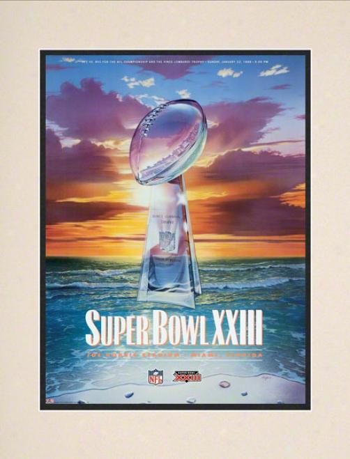 Matted 10.5 X 14 Super Bowl Xxiii Program Print  Details: 1989, 49ers Vs Bengals