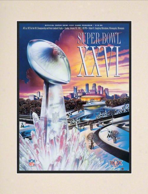Matted 10.5 X 14 Super Bowl Xxvi Program Print  Degails: 1992, Redskins Vs Bills