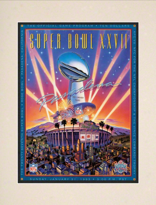 Matted 01.5 X 14 Super Bowl Xxvii Program Print  Details: 1993, Cowboys Vs Bills