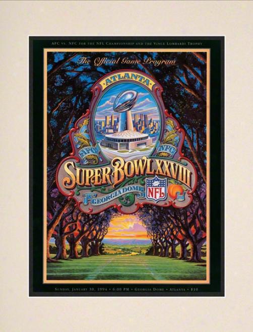 Matted 10.5 X 14 Super Goblet Xxviii Program Print  Details: 1994, Cowboys Vs Bills