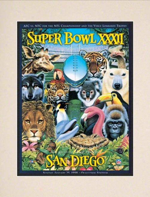 Matted 10.5 X 14 Super Bowl Xxxii Program Print  Details: 1998, Broncos Vs Packers