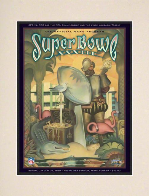 Matted 10.5 X 14 Super Bowl Xxxiii Program Print  Details: 1999, Broncos Vs Falcons