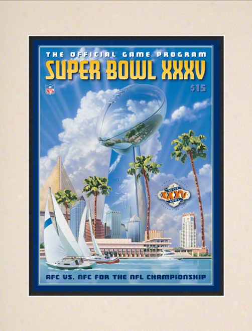 Matted1 0.5 X 14 Super Bowl Xxxv Program Print  Details: 2001, Ravens Vs Giants