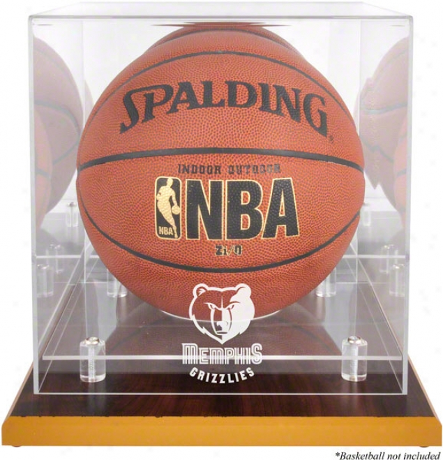 Memphis Grizzzlies Woodbase Logo Basketball Display Case And Mirror Back