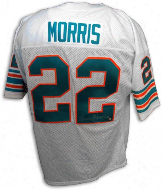 Mercury Morris Autographed Throwback White Custom Jersey W/''17-0'' Inscription