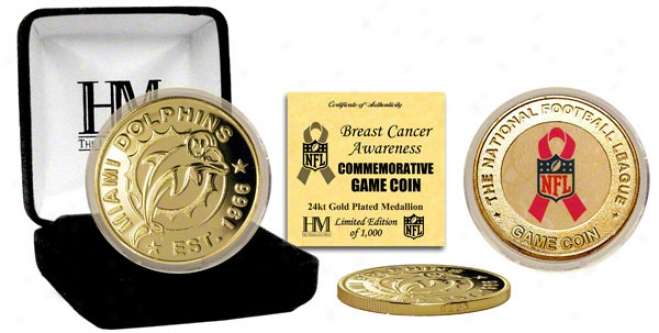 Miami Dolphins Breast Cancer Awareness 24kt Gold Game Coin