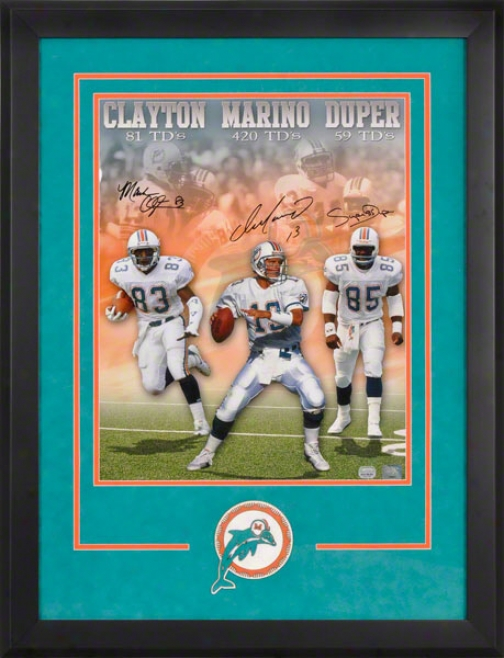 Miami Dolphins Framed Autographed Photograph  Details: Marino, Duper And Clayton, 16x20, 3 Signatures