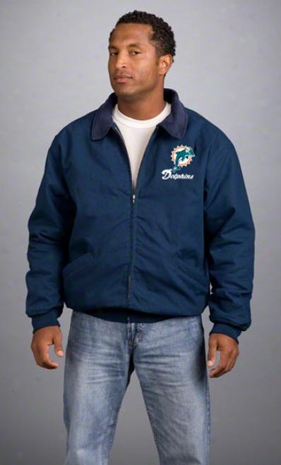Miami Dolphins Jacket: Navy Reebok Saginaw Jacket