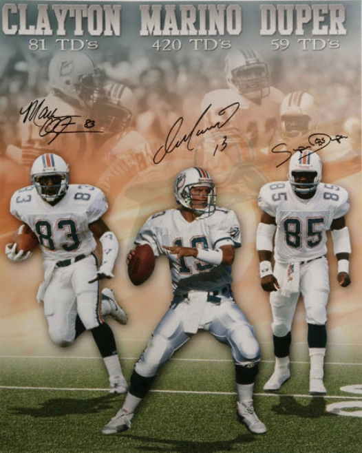 Miami Dolphins - Marino, Duper And Clayton - Autographed 16x20 Photograph